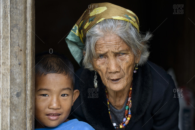 February 28, 2013: Igorot grandmother and grandson, Northern Luzon, Philippines