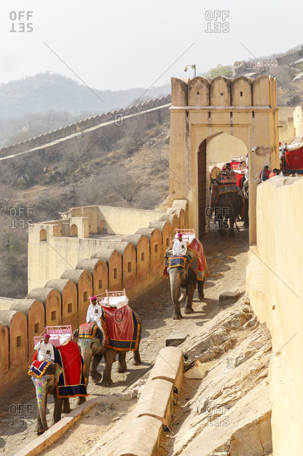 February 28, 2016: Amber Fortress, Amber Fort, Jaipur, Rajasthan, India