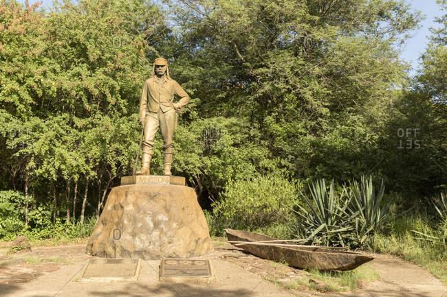 February 6, 2015: David Livingstone statue, Victoria Falls, Zimbabwe, Africa