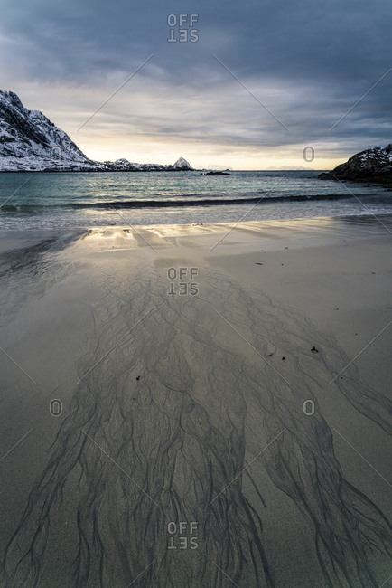Fjord landscape and beach at Gunnarholmen, Skarvagen on Vesteralen, Norway