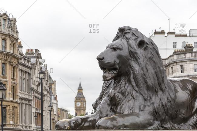 Lion statue and Big Ben, Trafalgar Square, London, United Kingdom