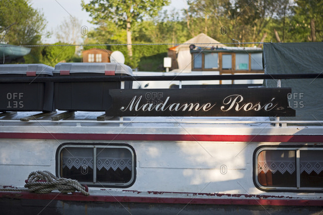 May 7, 2016: Houseboat, Canal de Bourgogne, Saint-Jean-de-Losne, Burgundy, France