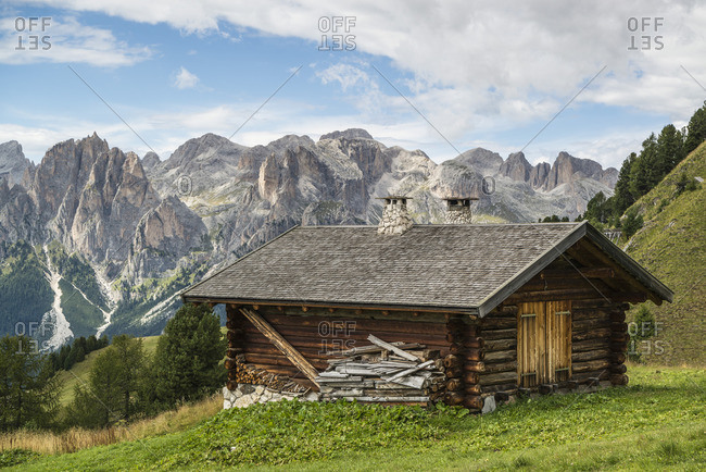 Mountain hut in Val di Fassa, Dolomites, South Tyrol, Italy