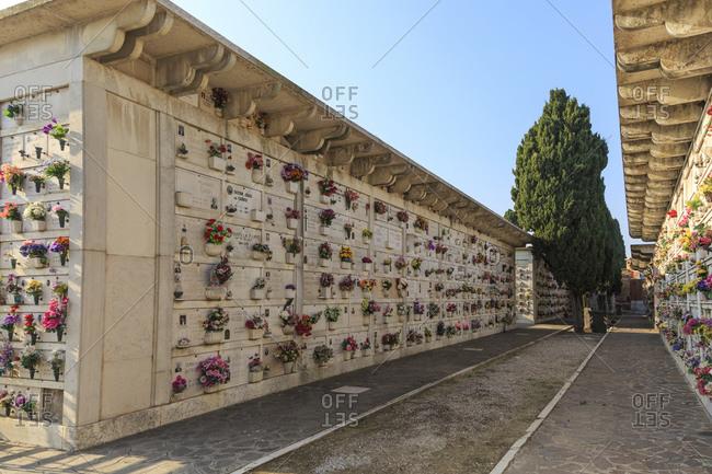 November 5, 2015: Cemetery on San Michele island, Venice, Italy