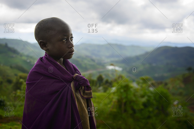 October 22, 2014: Boy in the Virunga region, Uganda, Africa