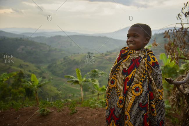 October 29, 2014: Boy in traditional clothing, South Rwanda, Africa