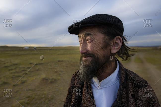 September 15, 2013: Mongolian shepherd in the Gobi desert, Mongolia