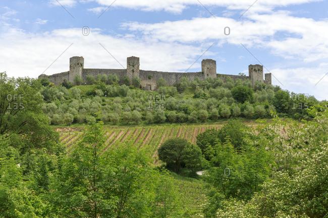 The city walls of Monteriggioni, Province of Siena, Tuscany, Italy