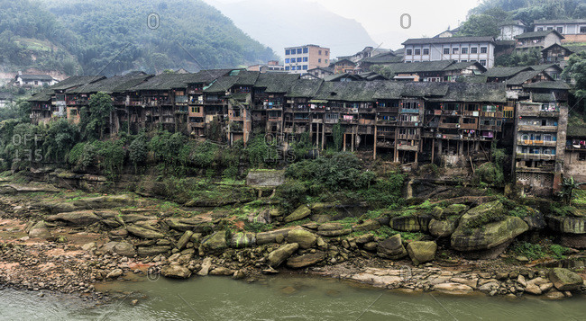 Traditional Chinese buildings in a mountain village, Guizhou Province, China