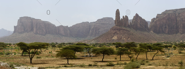 View of the rock formations of the Tigray region, Ethiopia
