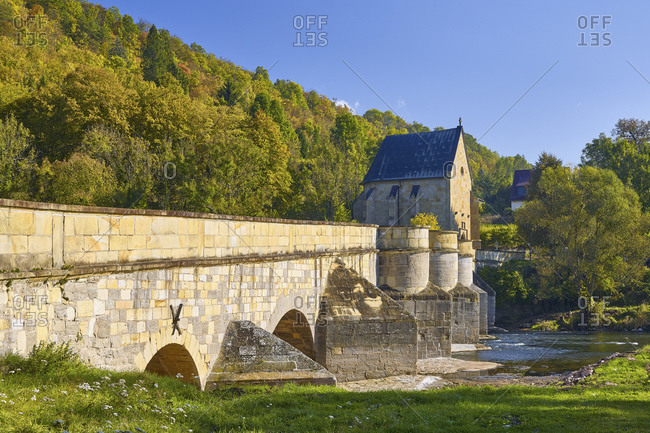 Werra bridge with Liborius chapel in Creuzburg, Wartburgkreis Thuringia, Germany