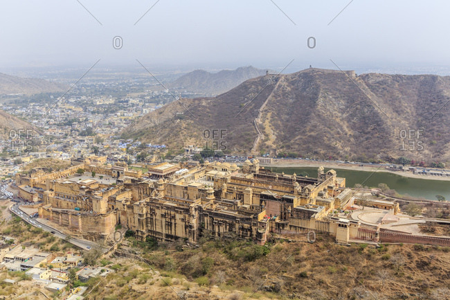 Amber Fortress, Amber Fort, view from Jaigarh Fort Jaipur, Rajasthan, India