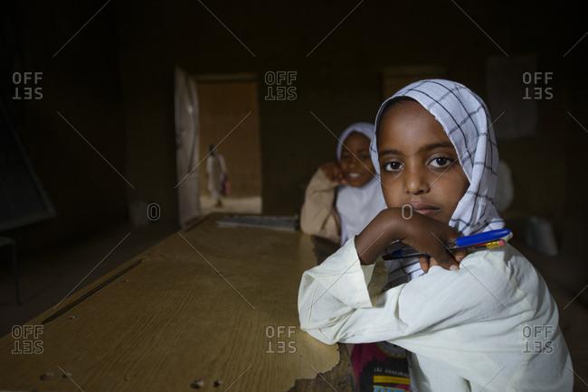 April 23, 2014: Children of a school in central Sahara, Sudan