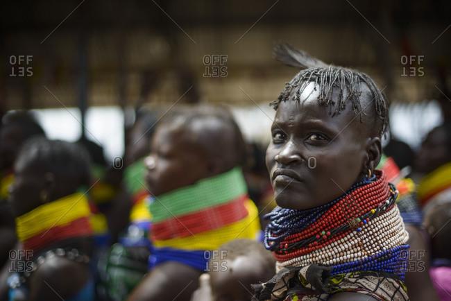 August 1, 2014: Meeting of Turkana women in a village, Kenya