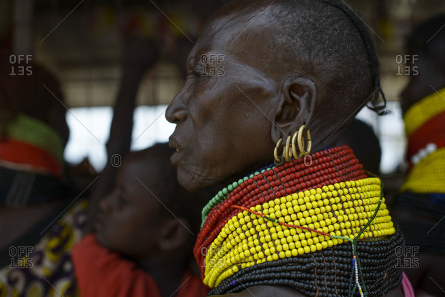 August 1, 2014: Turkana women's typical necklaces, earrings and hairstyle, Kenya