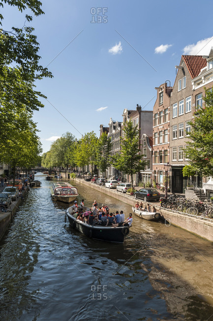 August 8, 2015: Canal houses in the old town, Amsterdam, Netherlands
