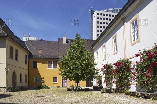 Courtyard of the Collegium Jenense, Old University in Jena, Thuringia, Germany