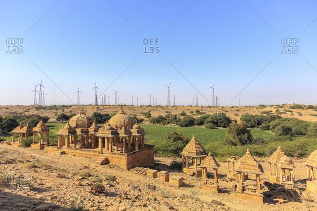 February 10, 2016: Bada Bagh Cenotaphs, Royal Chhatris, Jaisalmer, Rajasthan, India
