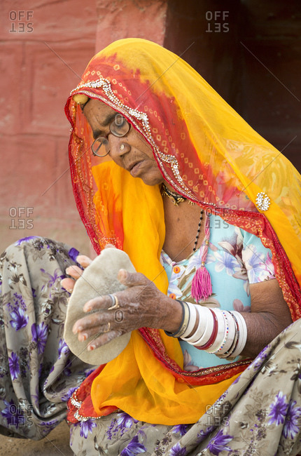 February 13, 2016: Chapati, Roti, flatbread production near Jodhpur, Rajasthan, India
