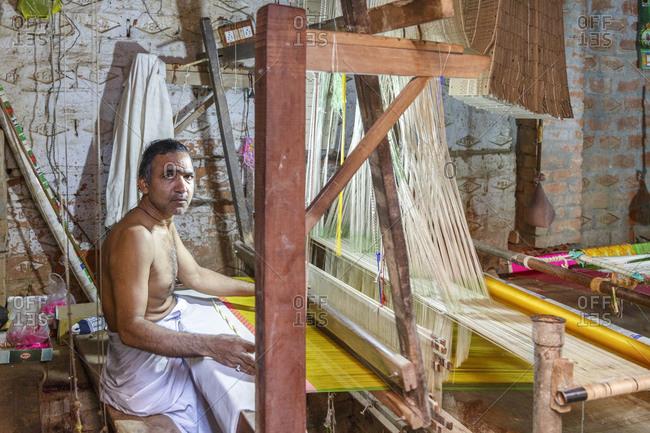 February 21, 2016: Weaving mill, old town, Varanasi, Uttar Pradesh, India