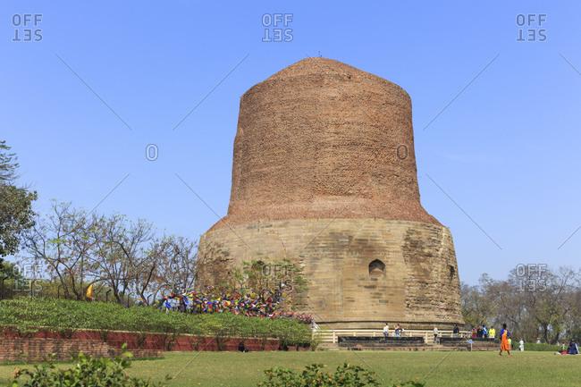 February 22, 2016: Dhamekh Stupa, Sarnath Temple, Varanasi, Uttar Pradesh, India