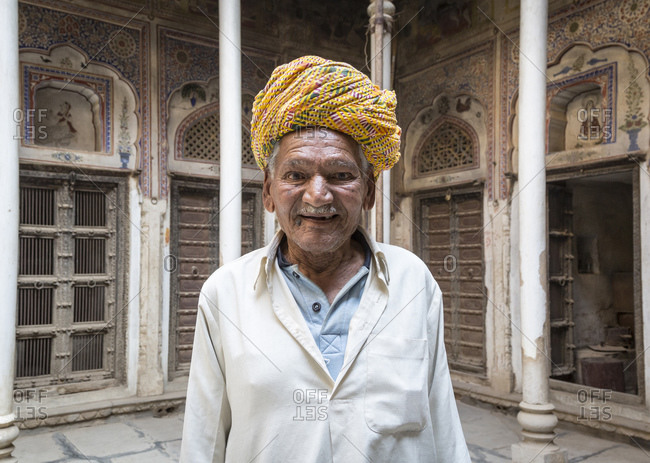 February 7, 2016: Portrait in Bansidhar Bhagat Haveli, Nawalgarh, Rajasthan, India