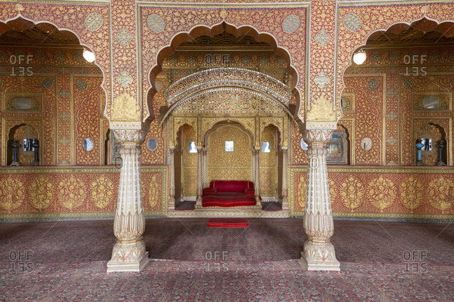 February 8, 2016: Anup Mahal Room, Junagarh Fort, Bikaner, Rajasthan, India