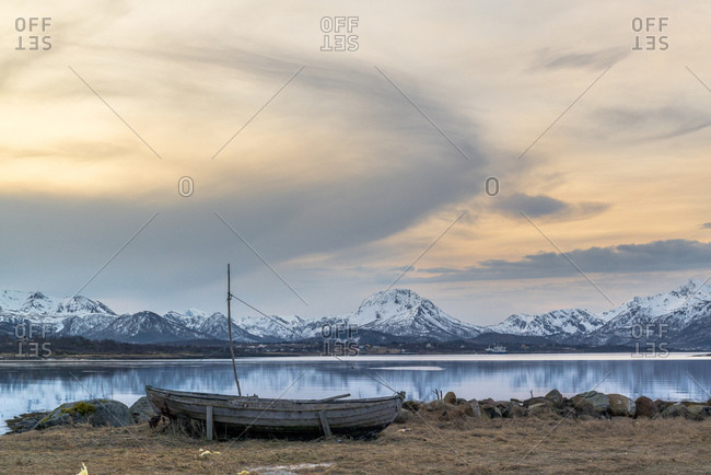 Fishing boat in the bay in front of Holmstad, Vesteralen, Norway