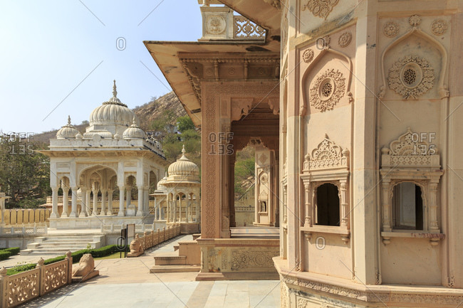 Gaitor, the burial grounds of the rulers of Jaipur, Rajasthan, India