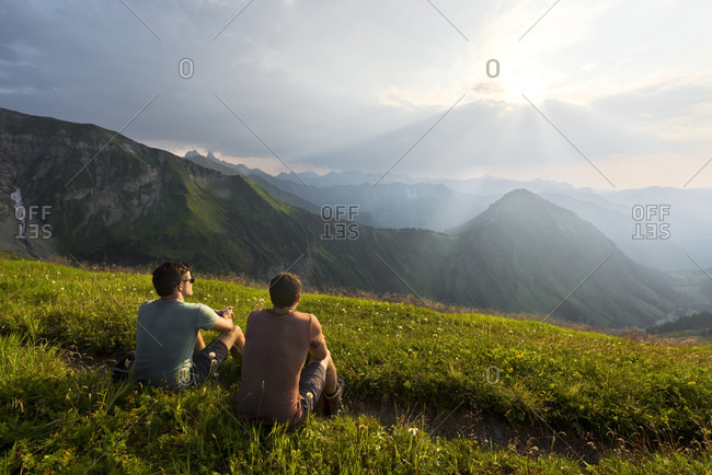 Hikers look out over the Hofats, Allgau Alps, Bavaria, Germany, Europe