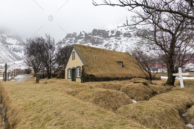 Hofskirkja, peat church near the Skaftafell National Park in southeast Iceland