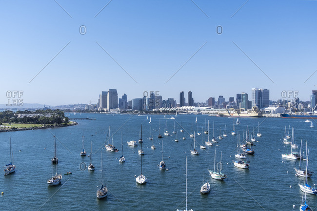 July 3, 2017: Marina and skyline of San Diego, California, USA