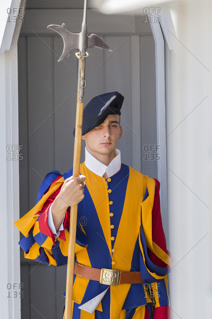 July 30, 2016: Pontifical Swiss Guard, Guardsman, Vatican, Rome, Lazio, Italy