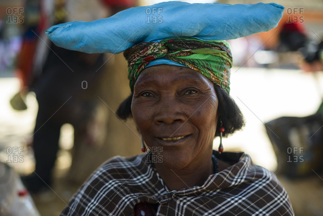 June 18, 2015: Woman from the Herero tribe, Opuwo, Namibia, Africa
