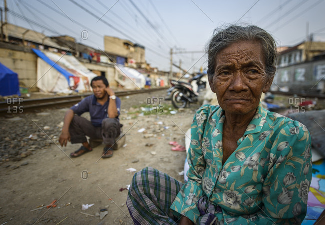 June 22, 2013: Slum next to the railroad tracks, Jakarta, Indonesia