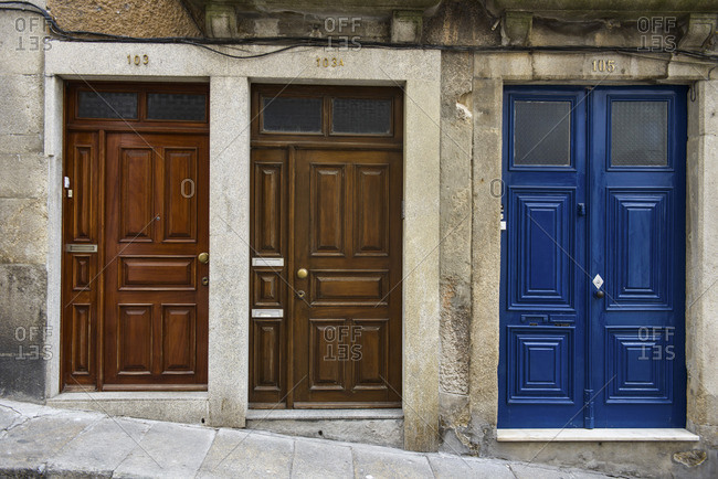 June 26, 2017: Front doors in the streets of Porto, Portugal