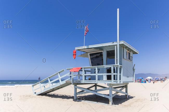 Lifeguard Tower on the beach, Venice Beach, Los Angeles, California, USA