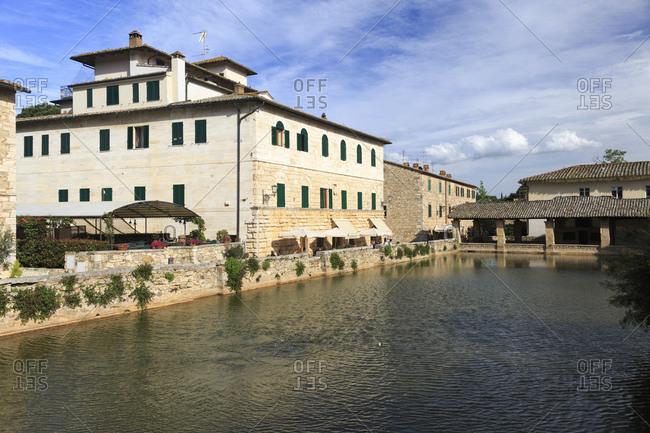 May 12, 2014: Ancient thermal baths of Bagno Vignoni, Tuscany, Italy
