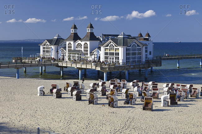 May 2, 2015: Pier in Sellin on Ruegen, Mecklenburg-West Pomerania, Germany