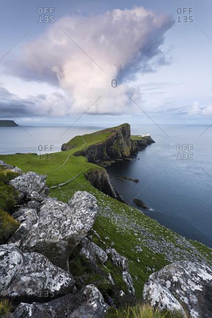 Neist Point with lighthouse, Skye Island, Scotland, England, United Kingdom, Europe