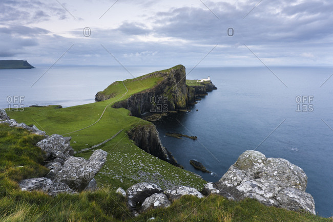 Neist Point with lighthouse, Skye Island, Scotland, England, United Kingdom, Europe