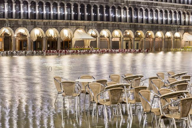 November 16, 2014: Flood, Acqua Alta, St. Mark's Square, Venice, Italy