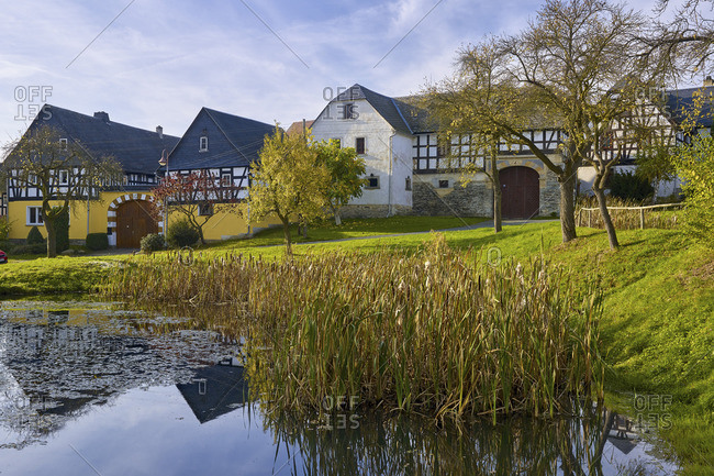October 18, 2017: Nitschareuth, historic village green with Fachwerkhof, Thuringia, Germany