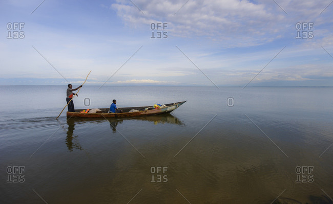 October 19, 2014: Fisherman with boat on Lake Edward, Uganda, Africa