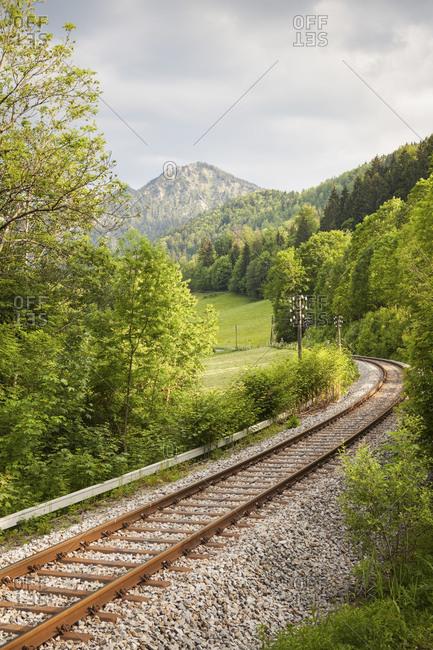Railway line between Fischbachau/Hammer and Schliersee, at Schliersee, Bavaria, Germany, Europe