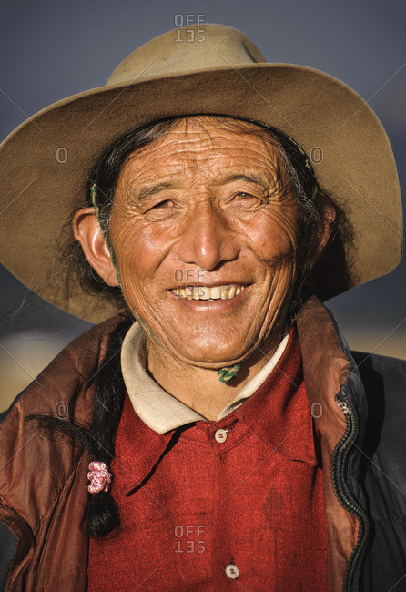 September 10, 2011: A Tibetan man from Laghang. Kham, Tibetan plateau