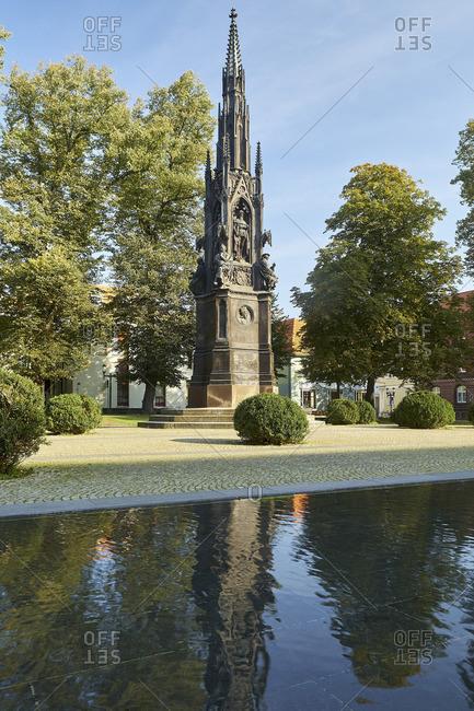 September 30, 2017: Rubenow monument at Rubenowplatz in Greifswald, Mecklenburg-Vorpommern, Germany