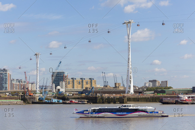 September 6, 2015: Emirates Air Line, gondola lift, London, United Kingdom