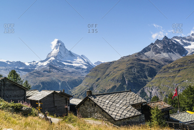 September 6, 2015: The Matterhorn with mountain village Tufteren, Zermatt, Switzerland