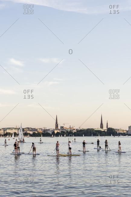 September 6, 2016: Trend sport, stand up paddling, Aussenalster, Hamburg, Germany